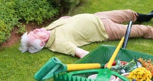 老人说谎不自觉在庭院里 影视素材