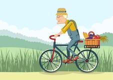 老人驱动乘自行车 传染媒介花匠 免版税库存照片
