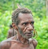 老人画象从Korowai Kolufo部落的 绿色密林自然本底 免版税库存照片