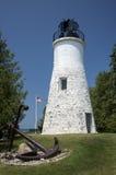 老休伦湖的Presque小岛灯塔 库存图片