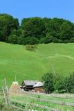 老传统房子和谷仓在Rucar地区,罗马尼亚 在绿色森林里盖的青山在背景中 免版税库存照片