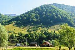 老传统房子和谷仓在Rucar地区,罗马尼亚 在绿色森林里盖的青山在背景中 免版税库存图片