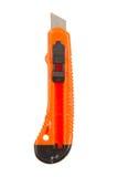 老使用的橙色斯坦利刀子 库存照片