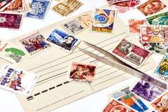 老使用的邮票 库存图片