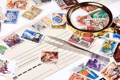 老使用的邮票 免版税库存图片