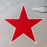 老俄国喷气式歼击机的细节与被绘的一个红色星的  免版税库存照片
