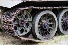 老俄国坦克在一个室外博物馆 武装的军事力量 免版税库存图片