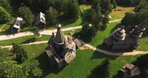 老俄国村庄老房子的重建 影视素材