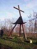 老修道院,在BeÄ  ej,塞尔维亚附近的AraÄ  a钟楼  免版税库存图片