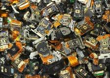 老光驱的部分作为工业废料背景的 库存照片