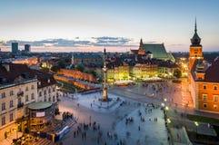 老全景城镇华沙 免版税库存图片