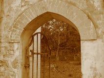 老公园,一个被放弃的豪宅,秋天,下跌的黄色离开 免版税库存图片