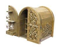 老典雅的木酒吧配件箱 库存照片