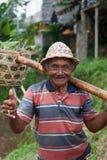 老农夫在巴厘岛 免版税库存照片