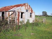 老农村农厂棚子和生活储蓄装货舷梯在一个农村设置在下午太阳末期 库存图片