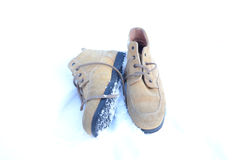 老冬天鞋子 库存图片