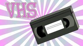 老减速火箭的有影片录影带的葡萄酒模式行家一部录影机的磁性薄膜为观看的电影题字VHS 库存例证
