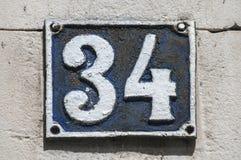 老减速火箭的生铁牌照编号34 库存照片