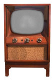 老减速火箭的葡萄酒电视控制台集,查出的五十年代 库存图片