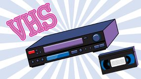 老减速火箭的酒仿古模式有磁性录影带的行家录影机观看的电影和题字VHS的 库存例证