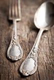 老刀叉餐具 图库摄影