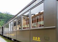 老列车车箱在阿拉斯加 免版税库存图片