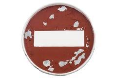 老剥落圆的红色路标`没有词条` 免版税库存照片