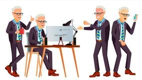 老办公室工作者传染媒介 面孔情感,各种各样的姿态 企业工作者 事业 专业工作员,官员,干事 库存例证