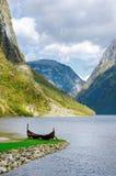 老北欧海盗小船,挪威 免版税库存照片