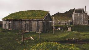 老北欧海盗村庄在有有雾的小山的冰岛 在草盖的老木大厦 库存照片