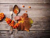 老匙子和叉子在秋季背景 免版税库存照片