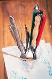 老匙子和叉子 库存照片