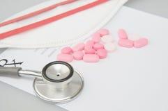 老医疗听诊器的关闭有迷离药片和面具 免版税库存图片