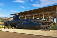 老南斯拉夫的潜水艇在波尔图黑山 蒂瓦特市,黑山 免版税库存图片