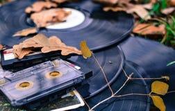 老卡式磁带和纪录与下落的叶子 库存图片
