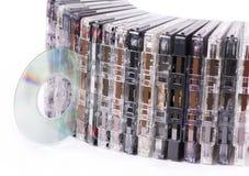 老卡式磁带CD的盘 库存图片