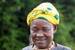 老卢旺达妇女 免版税库存照片
