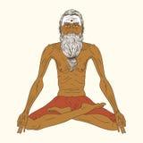 老印地安信奉瑜伽者人 免版税库存图片