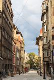 老历史中心Lipscani视图  免版税库存照片