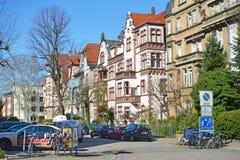 老历史欧洲风格的大厦城市海得尔堡的西部在德国 免版税图库摄影