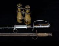 老历史武器,在Worl期间的武器日本兵 库存照片