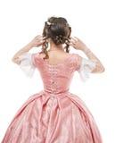老历史的中世纪礼服的美丽的妇女 后面姿势 免版税库存图片