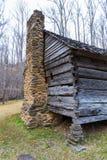 老历史的原木小屋细节  图库摄影