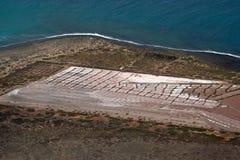 老历史的salines在兰萨罗特岛 库存图片