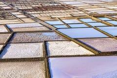 老历史盐在Janubio,兰萨罗特岛 库存图片