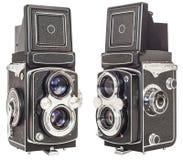 老双在白色背景隔绝的透镜反光照相机 库存图片