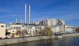 老发电站在中央莫斯科。 免版税库存照片