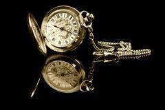 老口袋反映手表 免版税库存照片