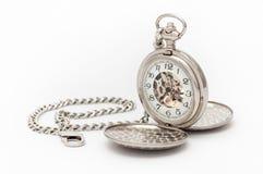 老口袋银色手表 库存照片