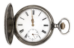 老口袋银色手表 免版税库存图片